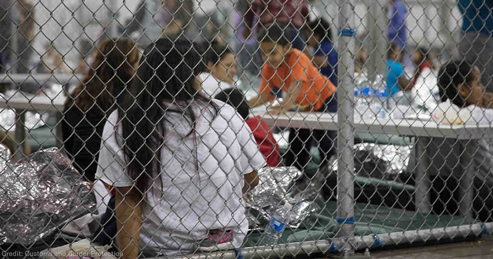 A group of women and children kept in cages