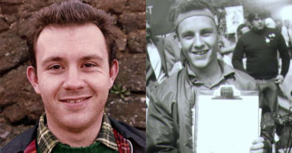 A split screen of photos of the same smiling man dressed in 1980's clothes