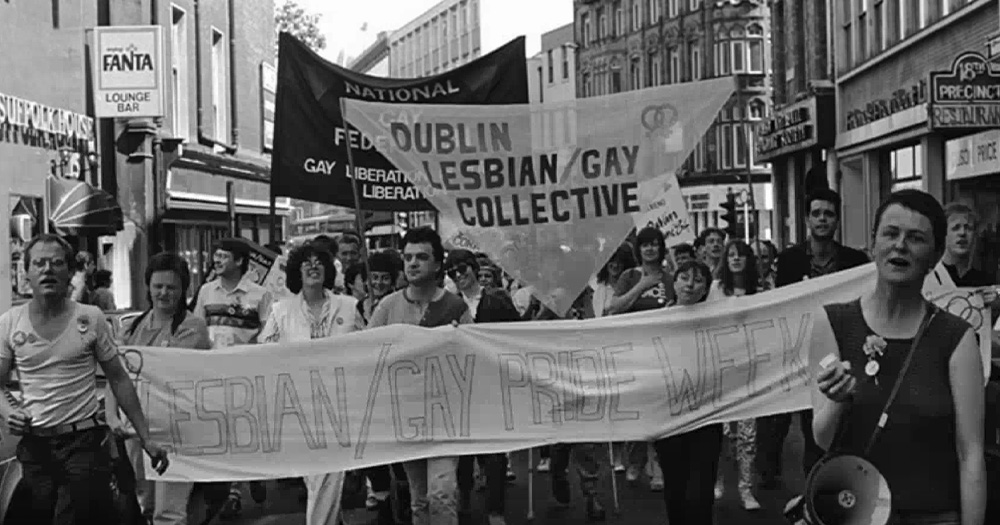 A group of marchers demanding gay rights