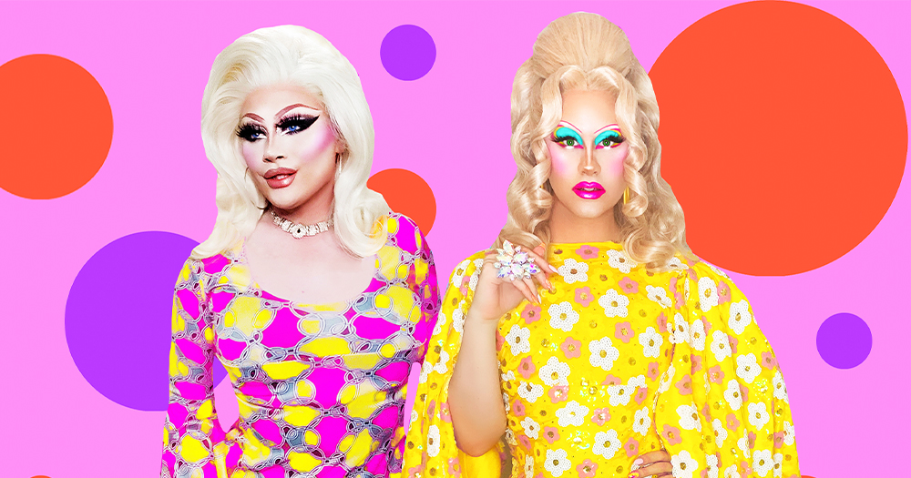 Two drag queens in floral outfits