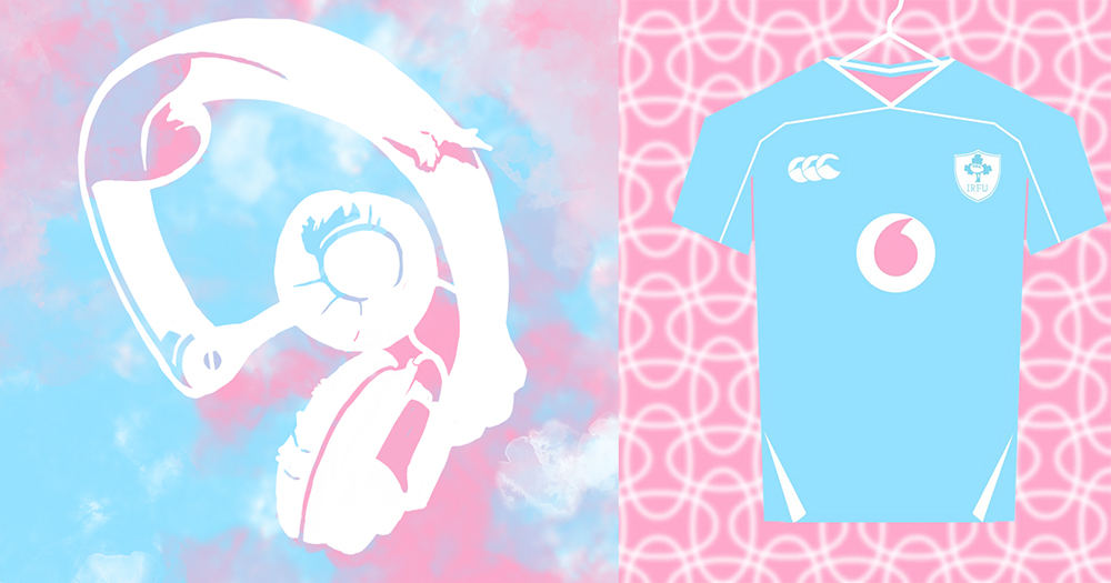 An illustration of headphones and a sports jersey