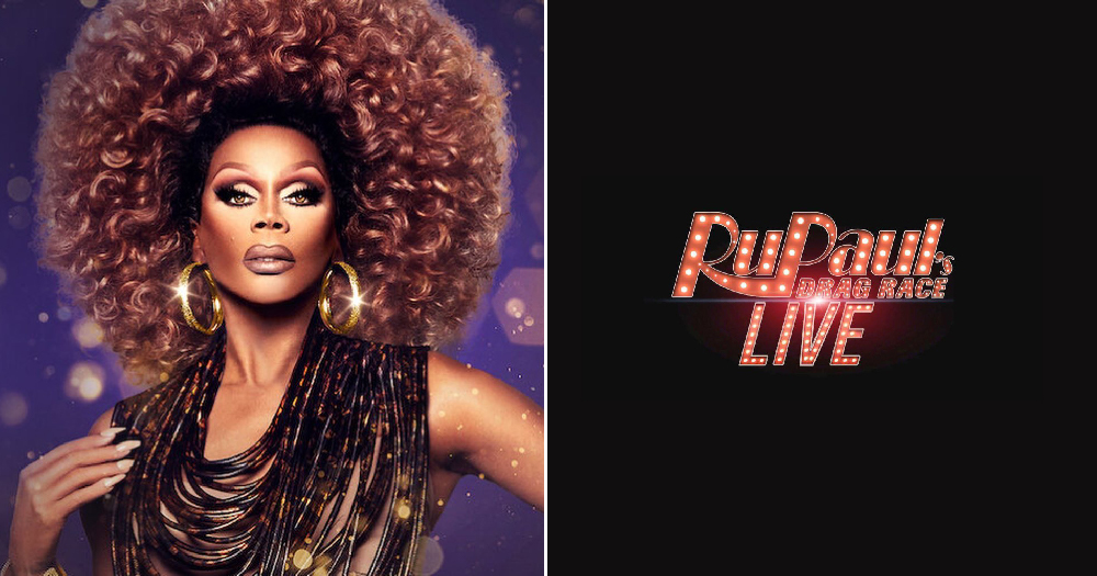 A split screen between RuPaul and the alleged Drag Race Live logo