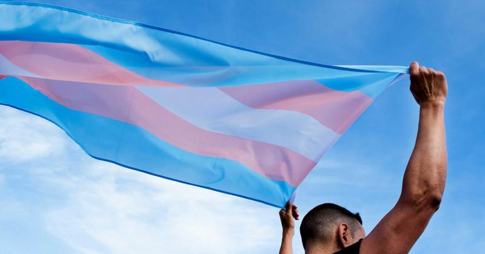 a man holding a trans flag in the air