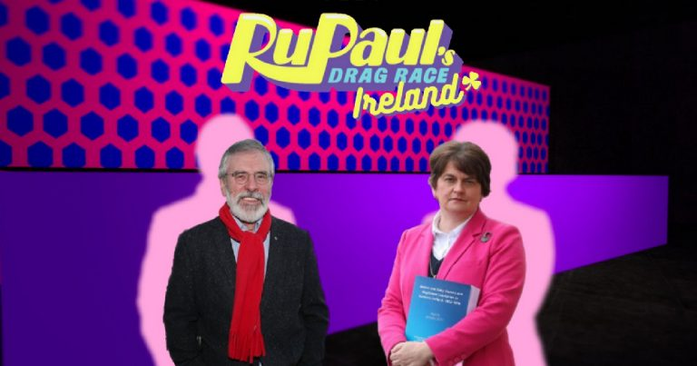 Two older politicians superimposed on a gameshow set from Drag Race Ireland Twitter page