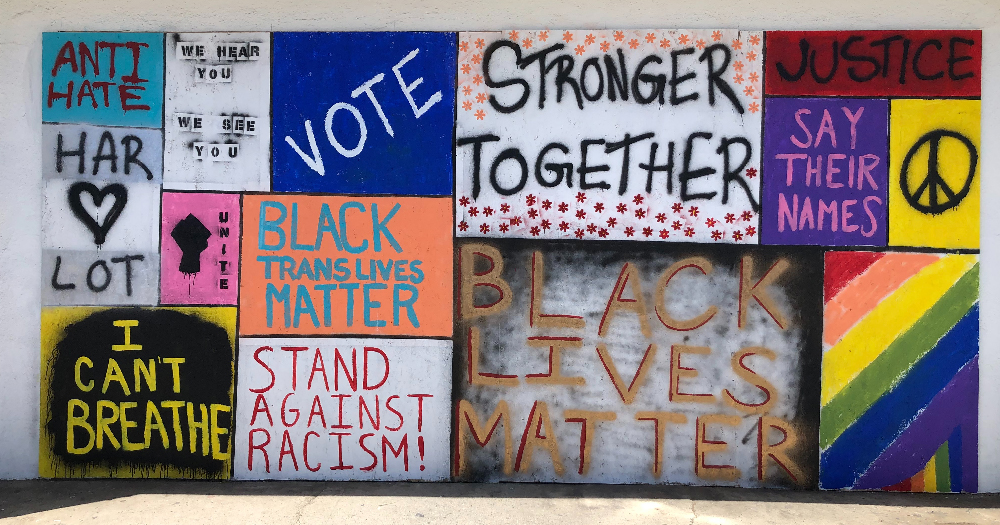 A group of handmade signs for Black Lives Matter