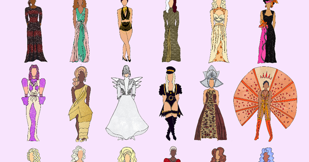 An illustration of 15 drag queens