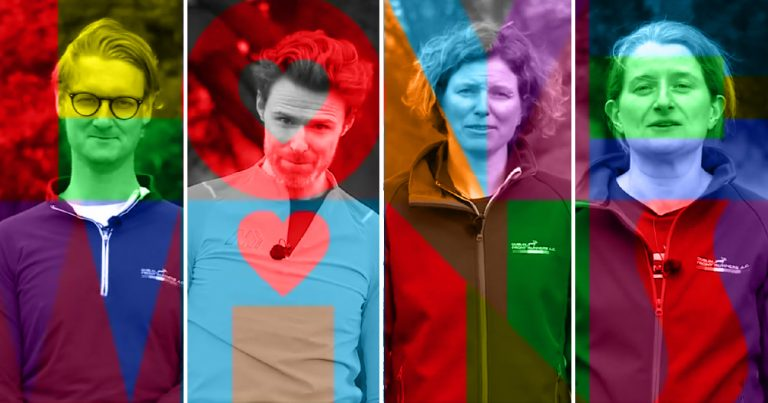 Colourful Split screen with portraits of Dublin Front Runners Couch 2 5k