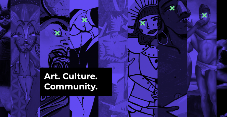 """A collage of queer artworks features on a purple background with the words """"Art. Culture. Community."""" in the foreground"""