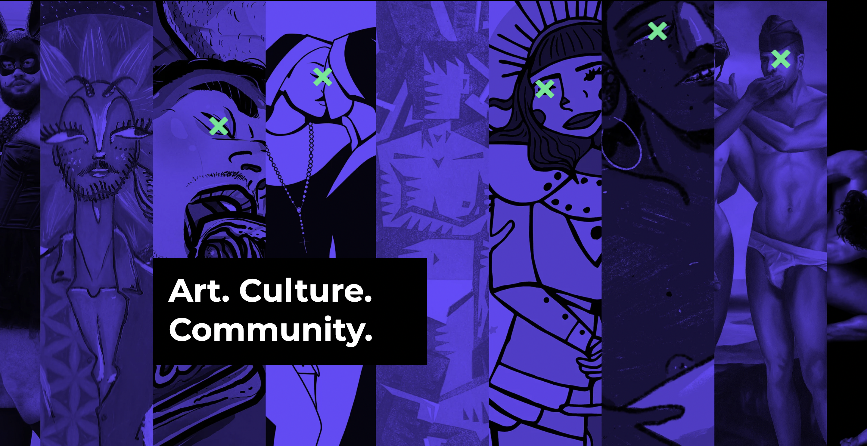 "A collage of queer artworks features on a purple background with the words ""Art. Culture. Community."" in the foreground"