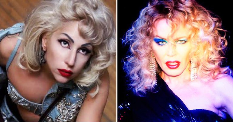 Kylie marry the night: Split screen of Lady Gaga on the Left and Kylie on the right