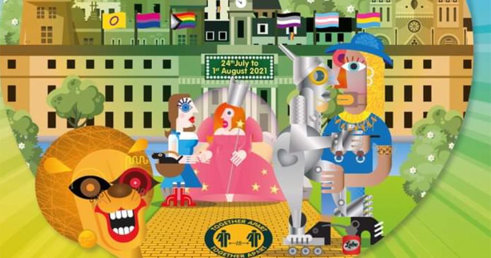 An animation of characters from the Wizard Of Oz in front of Cork city