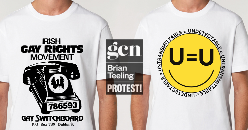 Two shirts, one with a phone on it, one with a smiley face
