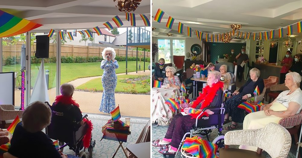 split screen image - left shows drag queen Tess Drive, in the background, performing for retirement home residents, right shows the residents with rainbow flags watching the performance