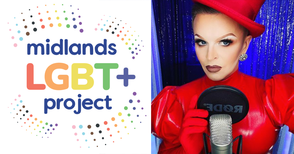 A split screen image of a logo for a queer support group and a drag queen at a microphone