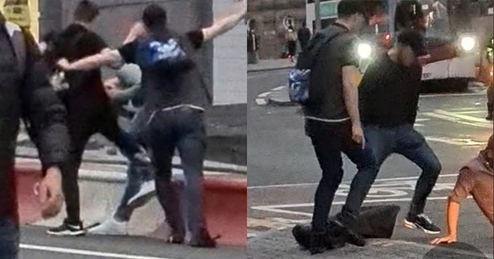 A split screen of two different images of two different men beating another man on a busy city street
