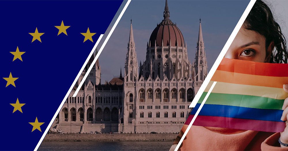 A split screen of the EU flag, a Hungarian building and a woman holding a rainbow flag
