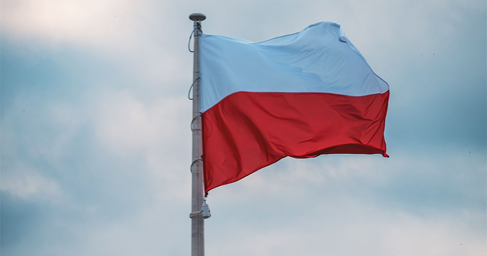 The Polish flag flying