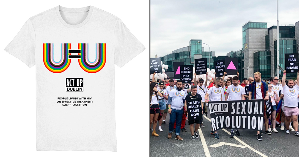 Split screen of New ACT UP t-shirt and ACT UP Dublin at Pride 2019