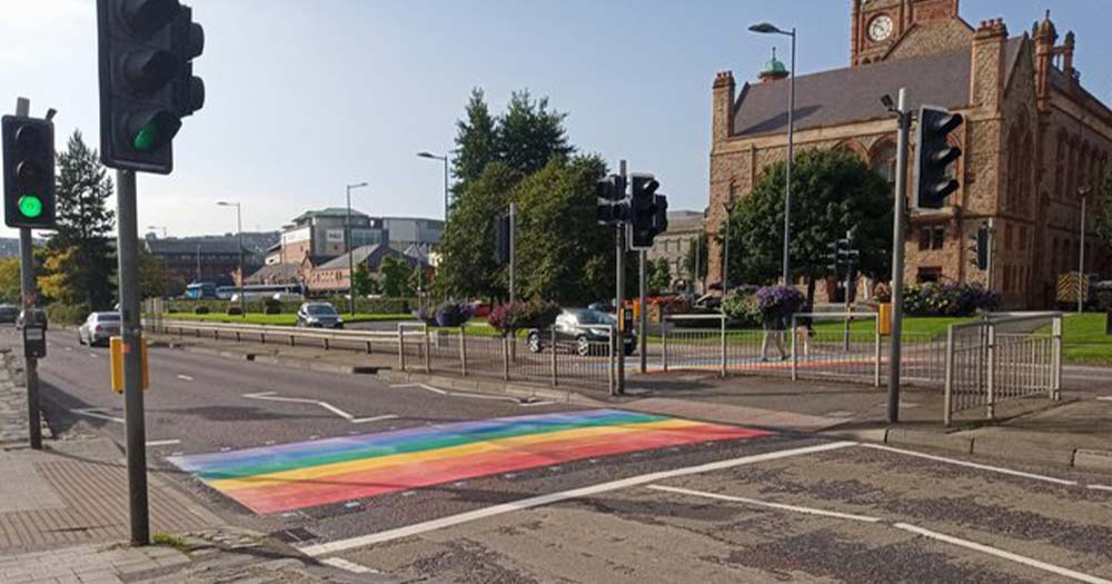 A rainbow painted on a road