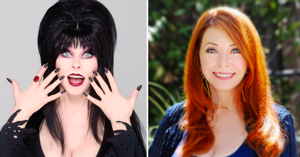 Split screen of character Elvira on left and Cassandra Peterson on right