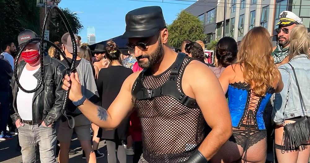 man in mesh top and leather hat at the return of Folsom