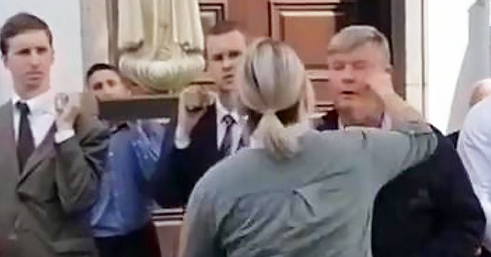 Still of the moment just before a women punched homophobic Gerry McGeough at Cookstown Pride