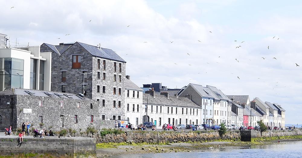 A row of building along a bay