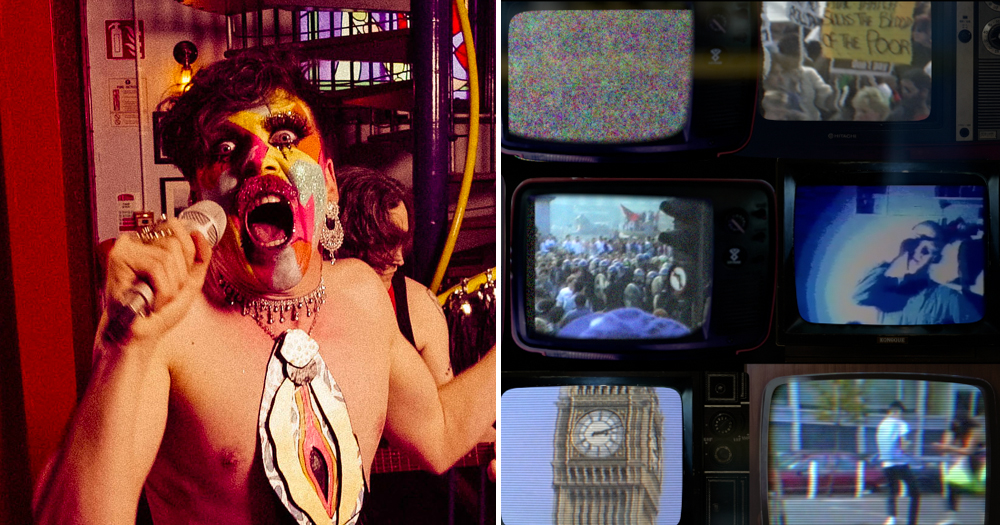 A split screen of a screaming face painted man and a bank of television screens