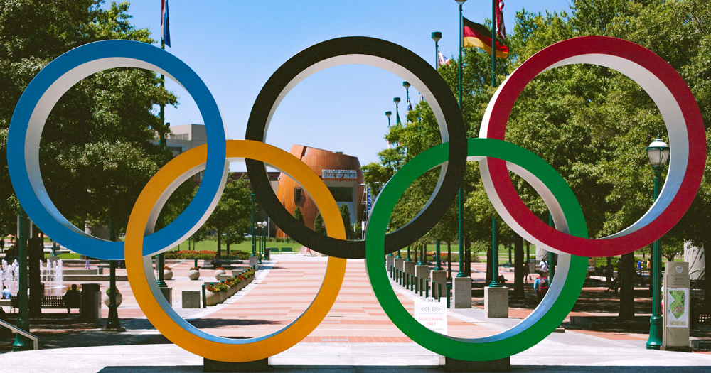 Olympic Rings at Centennial Olympic Park. IOC's guidelines for transgender olympic athlets have been delayed again.