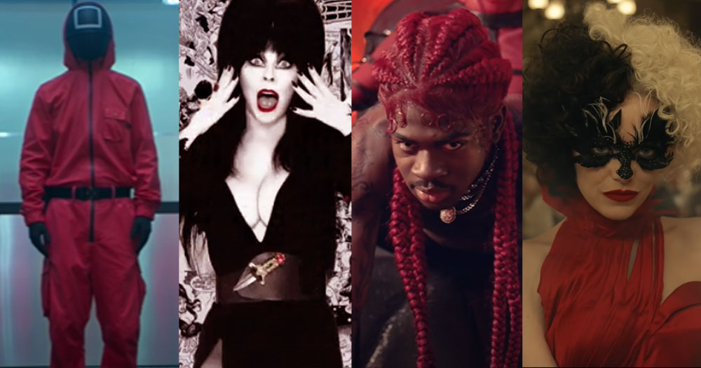 Split screen of samples of DIY Halloween costumes: Squid Games characters on far left, Elvria on left, Lil Nas X on right, Cruella on far right