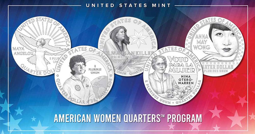 LGBTQ+ Women Coins. Illustration of Five coins featuring different women