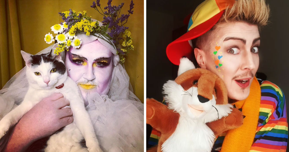 Split screen of Drag Storytime performers: Avoca Reaction (left) and Ben Panthera (right)