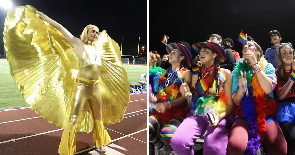 Split screen: drag performer (left) and audience at halftime of homecoming game (right)