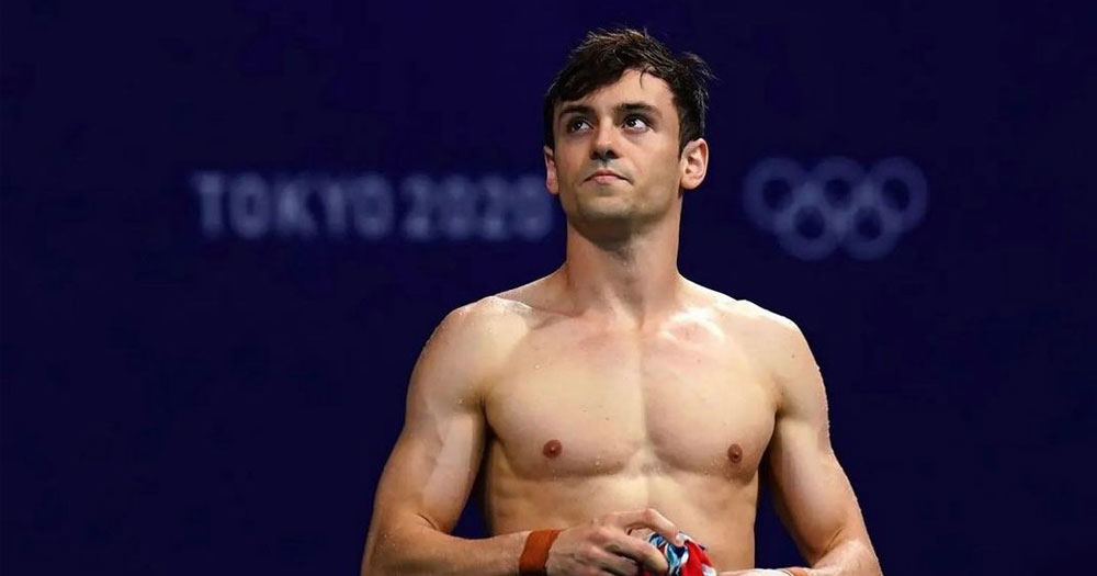 Still of shirtless Tom Daley at the 2020 Olympics in Tokyo